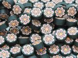 Black w/Pink Flower Polymer Clay Round Beads 10mm (CL210)
