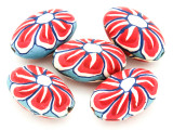 Blue w/Red & White Flower Polymer Clay Oval Beads 30mm (CL222)