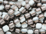 Bronze & White Electroplated Ceramic Cathedral Beads - 8mm (CER76)