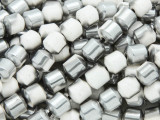 Silver & White Electroplated Ceramic Cathedral Beads - 8mm (CER80)