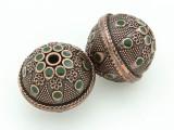 Large Copper & Green Enamel Bead 30mm (MB39)