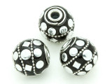 Black Ceramic & Metal Bead 18mm (CM87)