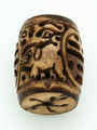 Brown Carved Barrel w/Pigs Bone Pendant 35mm (AP1866)
