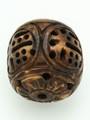 Brown Carved Irregular Round Bone Pendant 30mm (AP1877)