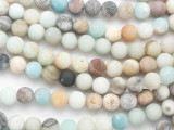 Matte Black Gold Amazonite Round Gemstone Beads 8mm (GS3958)