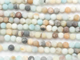 Matte Black Gold Amazonite Round Gemstone Beads 6-7mm (GS3960)
