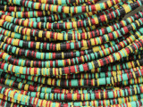 Yellow, Black, Red & Green Vinyl Disc Beads 2-3mm (VY219)