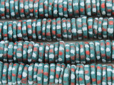 Teal w/Dots Disc Sandcast Glass Beads 11-15mm (SC978)