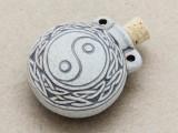 Yin Yang Ceramic Cork Bottle Pendant 38mm (AP1896)