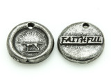 Faithful - Pewter Wax Seal Charm 13mm (PW853)