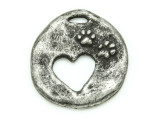 Heart Cut w/Paw Prints - Pewter Pendant 33mm (PW866)