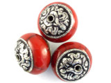 Red Resin w/Silver Caps Tibetan Bead 22mm (TB234)