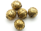 Engraved Brass Tibetan Bead 20mm (TB117)
