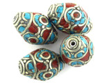 Turquoise, Coral & Silver Ellipsoid Tibetan Bead 21mm (TB473)