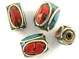 Turquoise, Coral & Brass Rectangle Tibetan Bead 12mm (TB334)