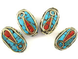 Turquoise, Coral & Brass Oval Tibetan Bead 18mm (TB342)