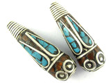 Turquoise, Coral & Silver Tibetan Bead 36mm (TB394)