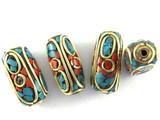Turquoise, Coral & Brass Tibetan Bead 24mm (TB395)