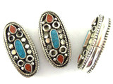 Silver w/Inlay Tibetan Bead 35mm (TB361)
