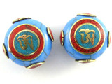 Blue Resin & Brass Tibetan Bead 24mm (TB519)