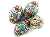 Turquoise, Coral & Silver Tibetan Bead 21mm (TB470)