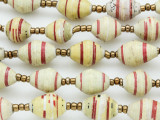 "Yellow & White Recycled Paper Beads - 36"" strand (PA109)"