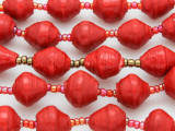"Red Painted Recycled Paper Beads - 36"" strand (PA110)"