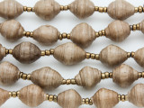 "Tan Recycled Paper Beads - 36"" strand (PA114)"