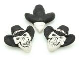 Cowboy Skull Painted Ceramic Bead 34mm - Peru (CER94)