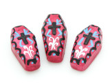 Fuchsia Coffin Painted Ceramic Bead 27mm - Peru (CER103)