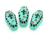 Turquoise Coffin Painted Ceramic Bead 27mm - Peru (CER104)