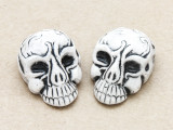 Black Ornate Skull Ceramic Bead 28mm - Peru (CER106)