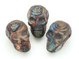 Spiral Skull Raku Ceramic Bead 30mm - Peru (CER126)