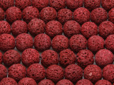 Cranberry Red Round Lava Rock Beads 10-11mm (LAV129)