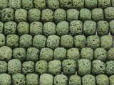 Olive Green Rondelle Lava Rock Beads 10mm (LAV143)