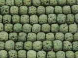 Olive Green Rondelle Lava Rock Beads 10mm (LAV143)