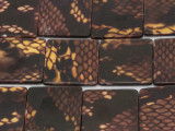Yellow Snakeskin Square Printed Shell Beads 25mm (SH536)