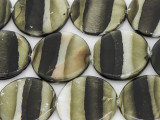 Green Striped Round Printed Shell Beads 30mm (SH546)