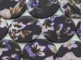 Dark Purple Floral Round Printed Shell Beads 30mm (SH551)