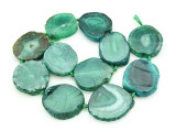 Green Agate Slab Gemstone Beads 33-39mm (AS854)