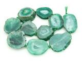 Green Agate Slab Gemstone Beads 32-45mm (AS856)