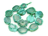 Green Agate Slab Gemstone Beads 25-31mm (AS864)