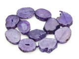 Purple Agate Slab Gemstone Beads 32-36mm (AS884)