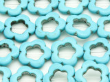 Turquoise Magnesite Flower Ring Gemstone Beads 19mm (GS4157)