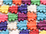 Multi-Color Howlite Bee Gemstone Beads 15mm (GS4164)