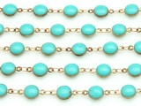 "Brass w/Turquoise Enamel Round Link Chain 12mm - 36""  (CHAIN92)"