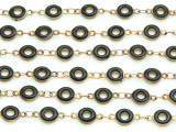 "Brass w/Black Enamel Donut Link Chain 11mm - 36""  (CHAIN95)"