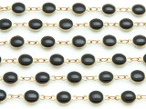 "Brass w/Black Enamel Round Link Chain 12mm - 36""  (CHAIN96)"