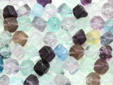 Rainbow Fluorite Rhomboid Gemstone Beads 8-9mm (GS4184)