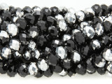 Black & Silver Crystal Glass Beads 8mm (CRY268)